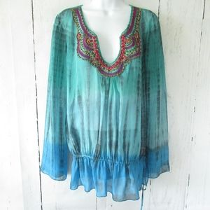 Hale Bob Cabana Silk Top Boho Peasant Tie Dye